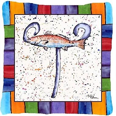 Caroline's Treasures Beach and Seafood Monogram Indoor/Outdoor Throw Pillow; T