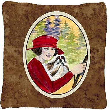 Caroline's Treasures Lady Driving w/ Her Shih Tzu Indoor/Outdoor Throw Pillow