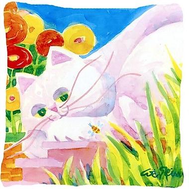 Caroline's Treasures White Cat Indoor/Outdoor Throw Pillow