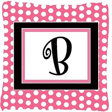 Caroline's Treasures Letter Initial Monogram Pink Black Polka Dots Indoor/Outdoor Throw Pillow; B
