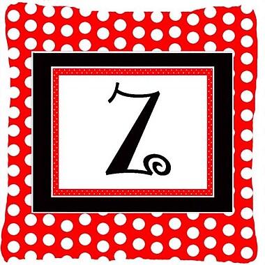 Caroline's Treasures Monogram Initial Red Black Polka Dots Indoor/Outdoor Throw Pillow; Z