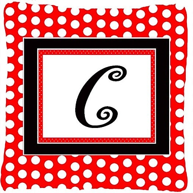 Caroline's Treasures Monogram Initial Red Black Polka Dots Indoor/Outdoor Throw Pillow; C