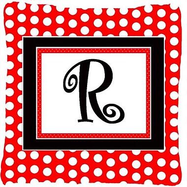 Caroline's Treasures Monogram Initial Red Black Polka Dots Indoor/Outdoor Throw Pillow; R