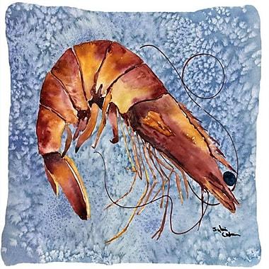 Caroline's Treasures Shrimp Indoor/Outdoor Throw Pillow; Blue