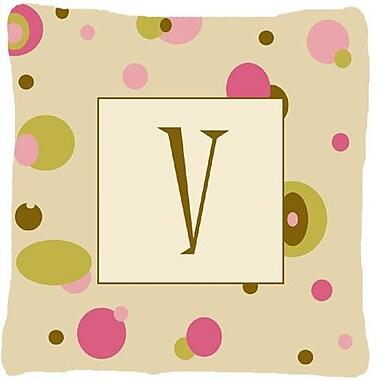 Caroline's Treasures Monogram Initial Tan Dots Indoor/Outdoor Throw Pillow; V