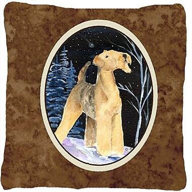 Caroline's Treasures Starry Night Airedale Indoor/Outdoor Throw Pillow