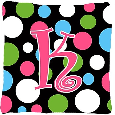 Caroline's Treasures Monogram Initial Polkadots Indoor/Outdoor Throw Pillow; K