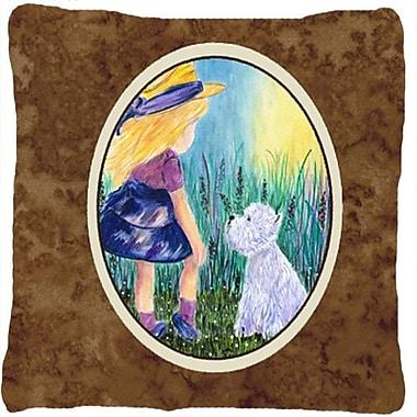 Caroline's Treasures Little Girl w/ Westie Indoor/Outdoor Throw Pillow