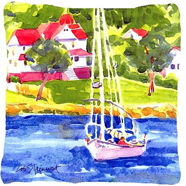 Caroline's Treasures Sailboat on The Lake Indoor/Outdoor Throw Pillow