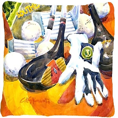 Caroline's Treasures Southeastern Golf Clubs w/ Glove and Balls Indoor/Outdoor Throw Pillow