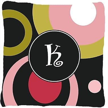 Caroline's Treasures Monogram Retro in Black Indoor/Outdoor Throw Pillow; K