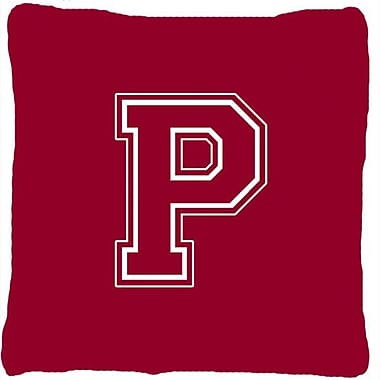 Caroline's Treasures Monogram Initial Maroon and White Indoor/Outdoor Throw Pillow; P