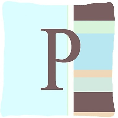 Caroline's Treasures Letter Initial Monogram Blue Stripes Indoor/Outdoor Throw Pillow; P