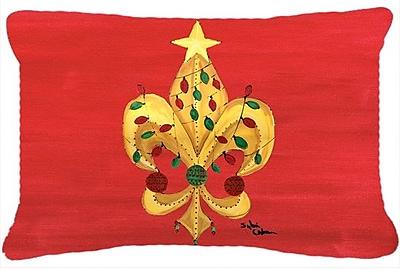 Caroline's Treasures Christmas Fleur De Lis Tree w/ Lights Indoor/Outdoor Throw Pillow