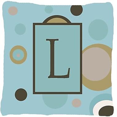 Caroline's Treasures Monogram Initial Blue Dots Indoor/Outdoor Throw Pillow; L