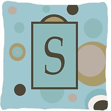 Caroline's Treasures Monogram Initial Blue Dots Indoor/Outdoor Throw Pillow; S