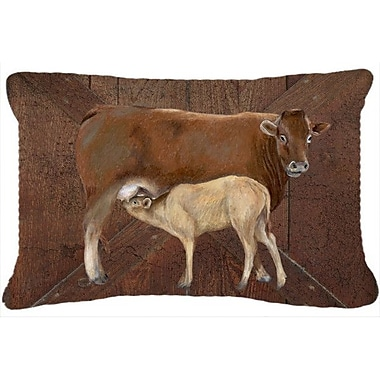 Caroline's Treasures Cow Momma and Baby Indoor/Outdoor Throw Pillow