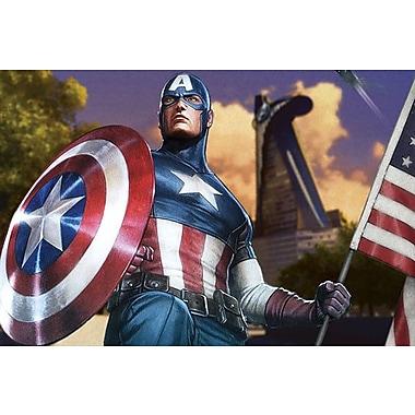 iCanvas Marvel Comics Captain America w/ a Flag Graphic Art on Canvas; 26'' H x 40'' W x 0.75'' D