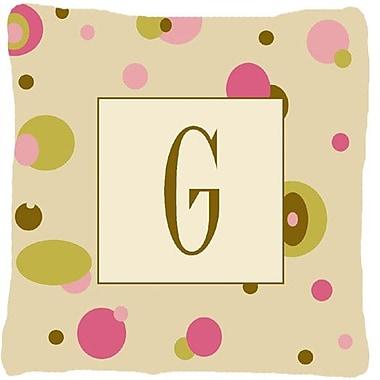 Caroline's Treasures Monogram Initial Tan Dots Indoor/Outdoor Throw Pillow; G