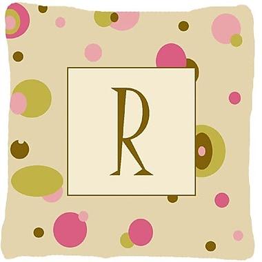 Caroline's Treasures Monogram Initial Tan Dots Indoor/Outdoor Throw Pillow; R