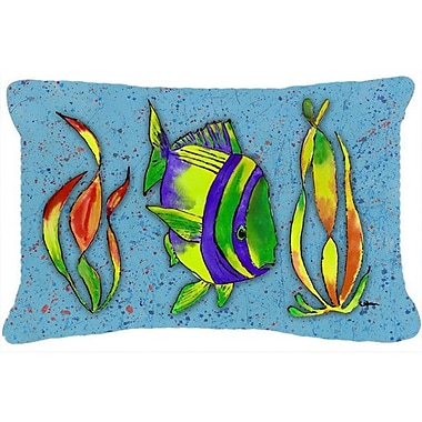 Caroline's Treasures Tropical Fish Indoor/Outdoor Throw Pillow; Blue