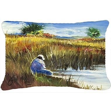 Caroline's Treasures Fisherman on The Bank Indoor/Outdoor Throw Pillow