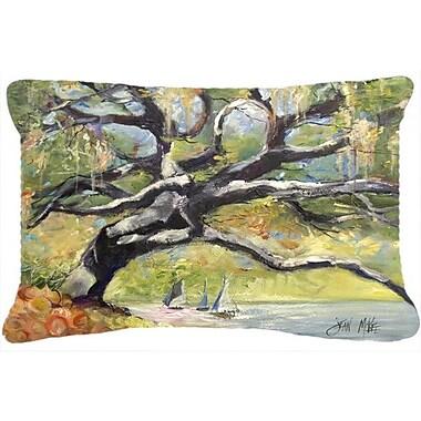 Caroline's Treasures Oak Tree on The Bay w/ Sailboats Indoor/Outdoor Throw Pillow