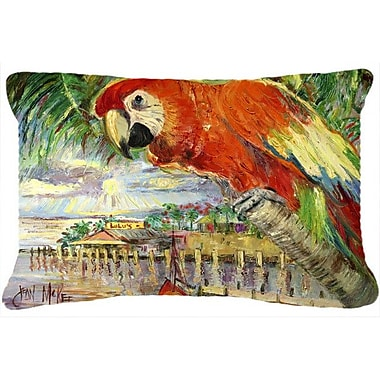 Caroline's Treasures Red Parrot at Lulu's Indoor/Outdoor Throw Pillow