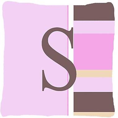 Caroline's Treasures Monogram Initial Pink Stripes Indoor/Outdoor Throw Pillow; S