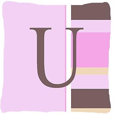 Caroline's Treasures Monogram Initial Pink Stripes Indoor/Outdoor Throw Pillow; U