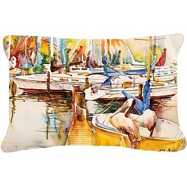 Caroline's Treasures Sailboat w/ Pelican Golden Days Indoor/Outdoor Throw Pillow