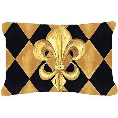 Caroline's Treasures Black and Gold Fleur De Lis New Orleans Indoor/Outdoor Throw Pillow