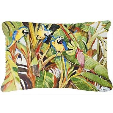Caroline's Treasures Three Blue Parrots Indoor/Outdoor Throw Pillow