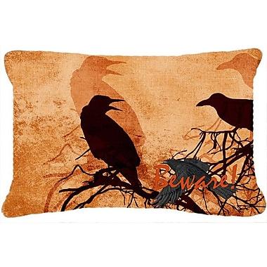 Caroline's Treasures Beware of The Black Crows Halloween Indoor/Outdoor Throw Pillow
