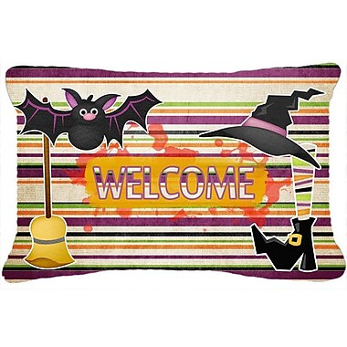 Caroline's Treasures Witch Costume and Broom on Stripes Halloween Indoor/Outdoor Throw Pillow
