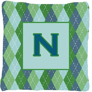Caroline's Treasures Monogram Initial Blue Argyle Indoor/Outdoor Throw Pillow; N