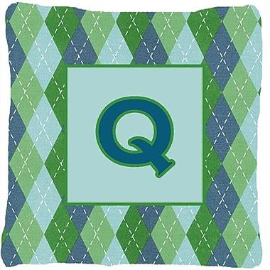 Caroline's Treasures Monogram Initial Blue Argyle Indoor/Outdoor Throw Pillow; Q