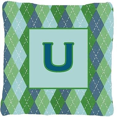 Caroline's Treasures Monogram Initial Blue Argyle Indoor/Outdoor Throw Pillow; U