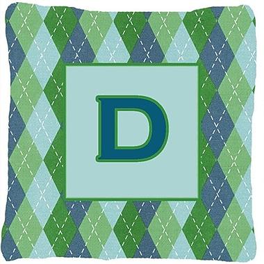 Caroline's Treasures Monogram Initial Blue Argyle Indoor/Outdoor Throw Pillow; D