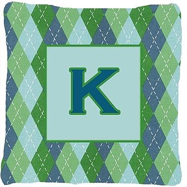 Caroline's Treasures Monogram Initial Blue Argyle Indoor/Outdoor Throw Pillow; K
