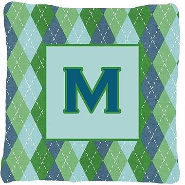Caroline's Treasures Monogram Initial Blue Argyle Indoor/Outdoor Throw Pillow; M
