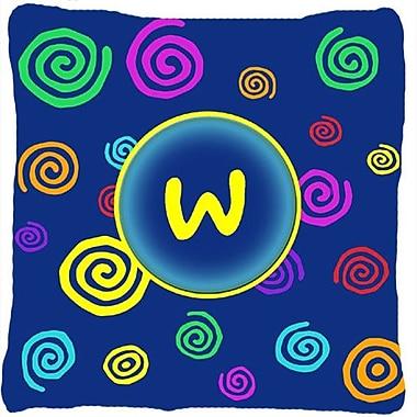 Caroline's Treasures Monogram Initial Blue Swirls Indoor/Outdoor Throw Pillow; W