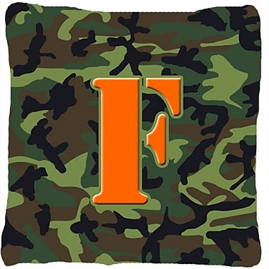 Caroline's Treasures Monogram Initial Camo Indoor/Outdoor Throw Pillow; F