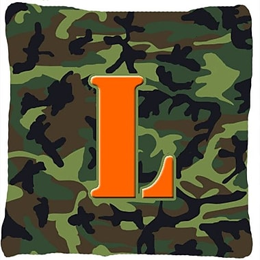 Caroline's Treasures Monogram Initial Camo Indoor/Outdoor Throw Pillow; L