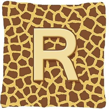 Caroline's Treasures Monogram Initial Giraffe Indoor/Outdoor Throw Pillow; R