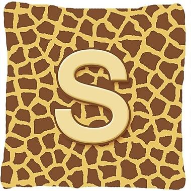 Caroline's Treasures Monogram Initial Giraffe Indoor/Outdoor Throw Pillow; S