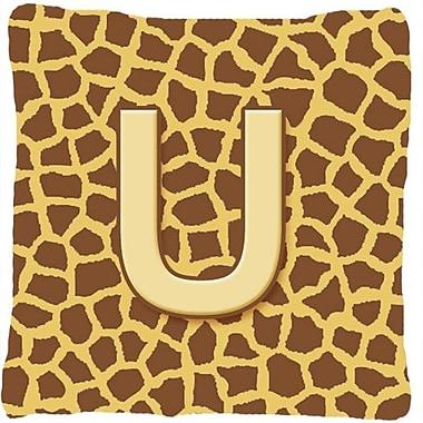 Caroline's Treasures Monogram Initial Giraffe Indoor/Outdoor Throw Pillow; U
