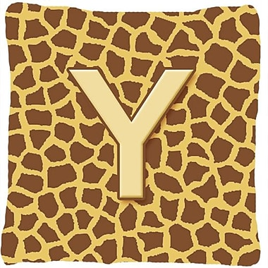 Caroline's Treasures Monogram Initial Giraffe Indoor/Outdoor Throw Pillow; Y