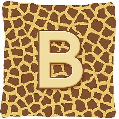Caroline's Treasures Monogram Initial Giraffe Indoor/Outdoor Throw Pillow; B