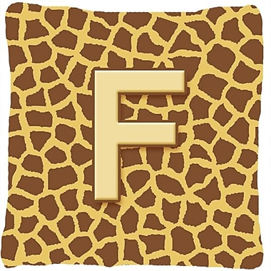 Caroline's Treasures Monogram Initial Giraffe Indoor/Outdoor Throw Pillow; F